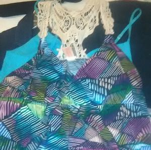 EUC Multi colored Maxi dress sz XL lace backed